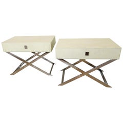 Pair of Faux Shagreen & Chrome Bedside or Side Tables in Jean Michel Frank Style