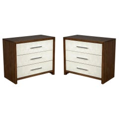 Pair of Faux Shagreen Faced Oak Chest of Drawers by Hickory White