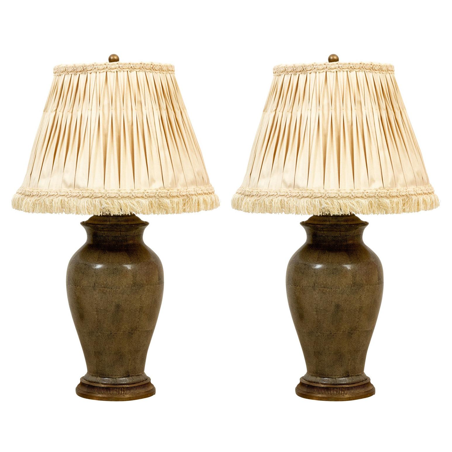 Pair of Faux Shagreen Lamps