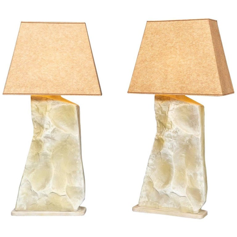 Pair of Faux Stone Lamps For Sale