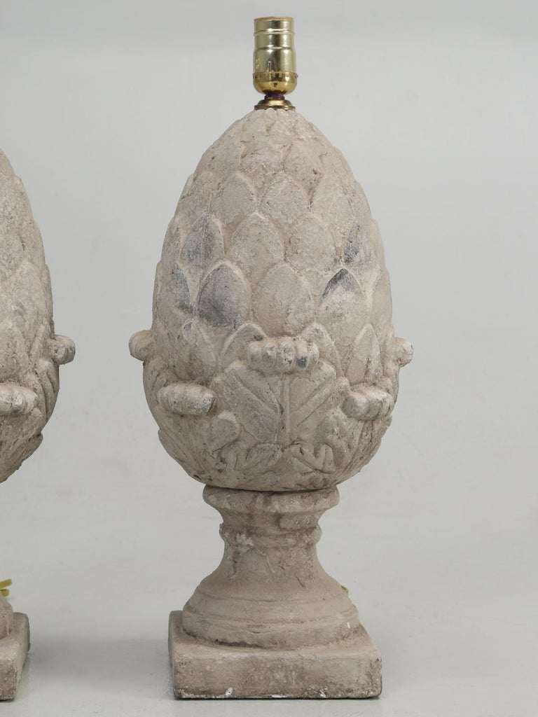 Late 20th Century Pair of Faux Stone Lamps in the Form of an Artichoke For Sale