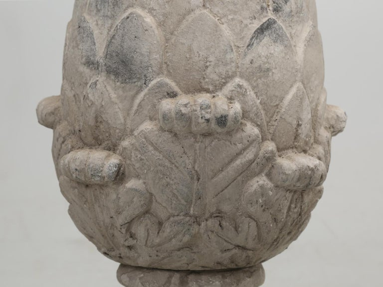 Pair of Faux Stone Lamps in the Form of an Artichoke For Sale 4