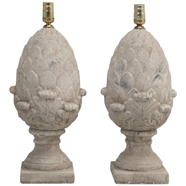 Pair of Faux Stone Lamps in the Form of an Artichoke For Sale