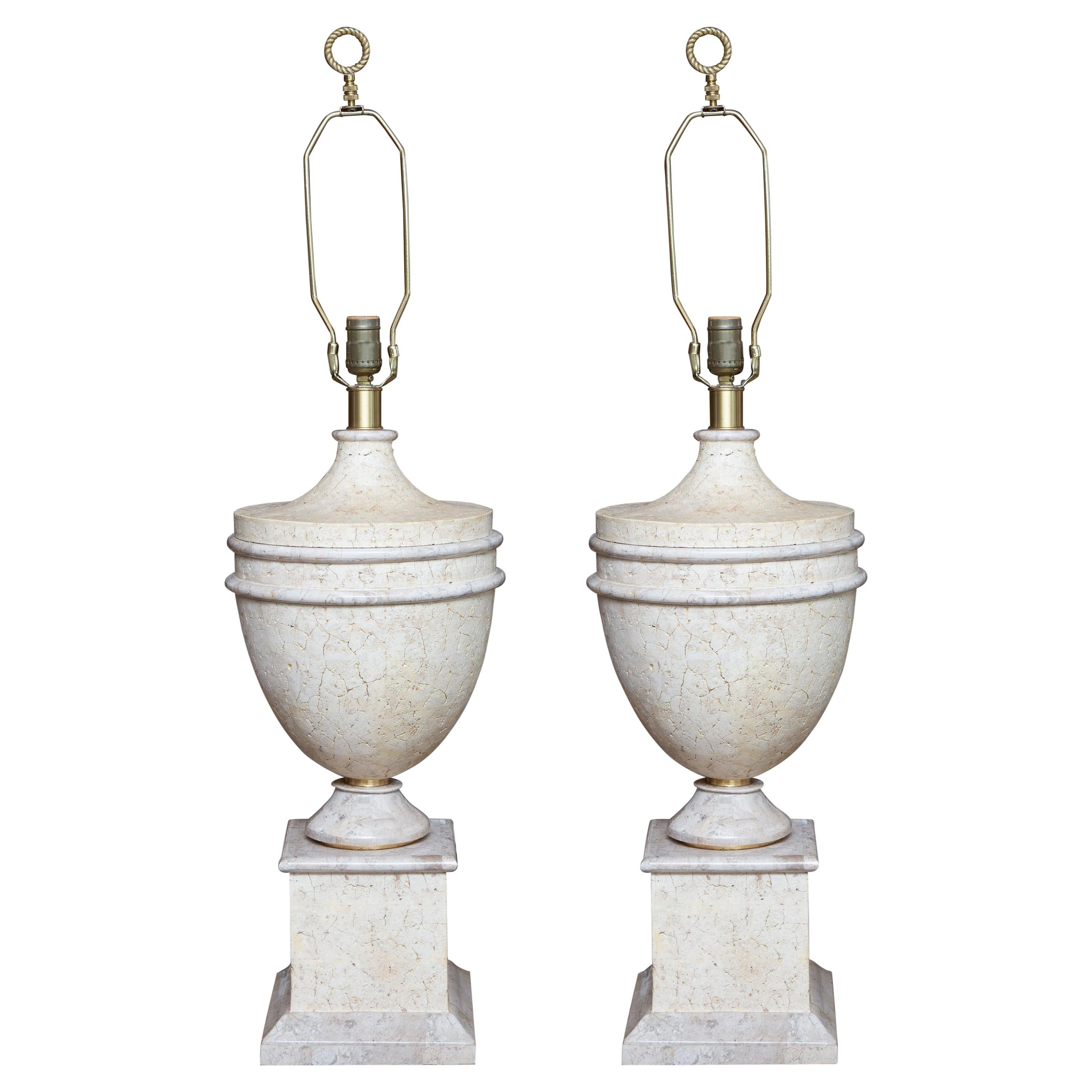 Pair of Faux Stone Urn Form Table Lamps with Custom Shades