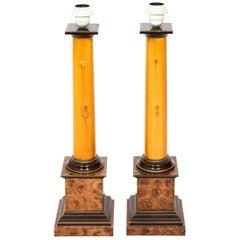 Pair of Faux Wood Column Lamps, circa 1990s