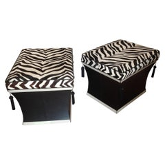 Pair of Faux Zebra Ottomans
