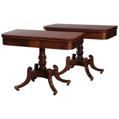 Pair of Federal Flamed Mahogany Game Tables W. Gadrooned Edge, circa 1820