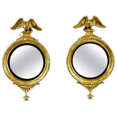 Pair Of Federal Giltwood Convex Mirrors