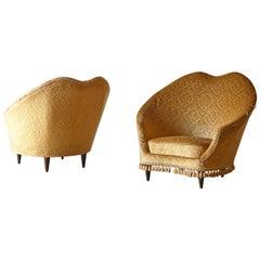 Pair of Federico Munari Lounge Chairs, for Reupholstery, Italy, 1950s
