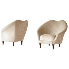 Pair of Federico Munari Lounge Chairs, Newly Upholstered, Italy, 1950s