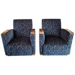 Pair of Fench Art Deco Club Chairs, Blue Velvet Nobilis, France, circa 1930s
