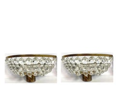Pair Of Fench Deco Crystal and Bronze Sconces