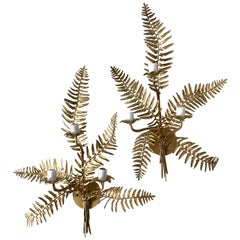 Pair of Fern Form Wall Sconces