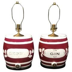 Pair of Festive British Ceramic Spirit Barrel Lamps