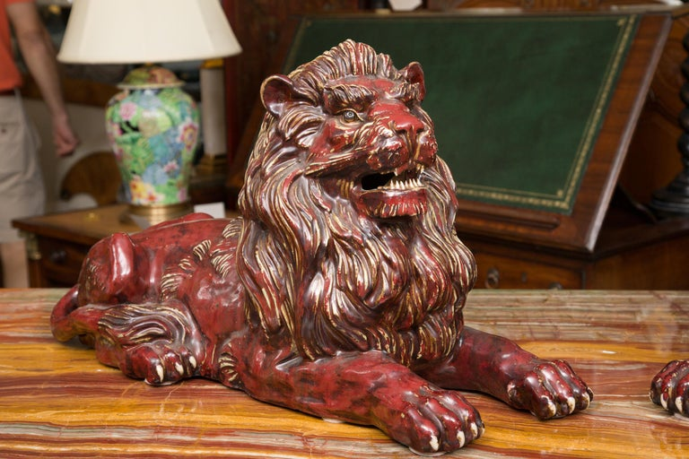 Pair of Fiance Glazed Recumbent Lions For Sale 2