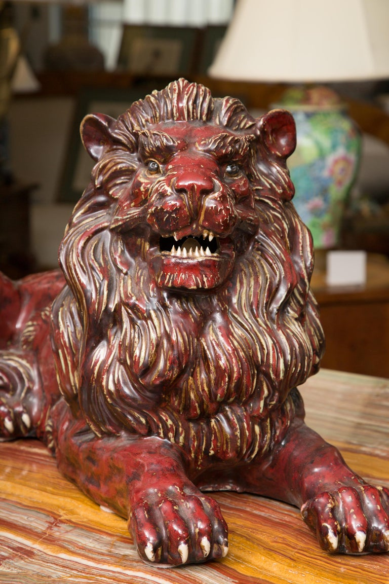 Pair of Fiance Glazed Recumbent Lions For Sale 1