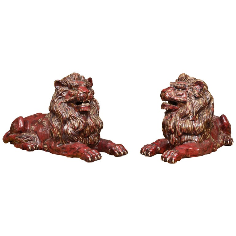 Pair of Fiance Glazed Recumbent Lions For Sale