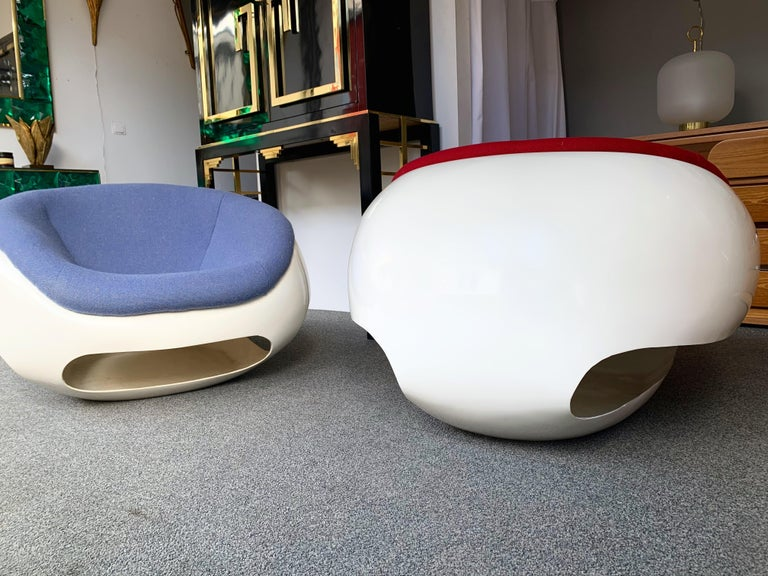 Pair of Fiberglass POD Armchairs by Mario Sabot, Italy, 1970s For Sale 3