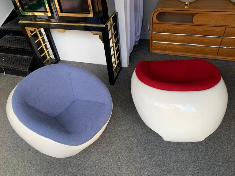 Pair of Fiberglass POD Armchairs by Mario Sabot, Italy, 1970s For Sale 1