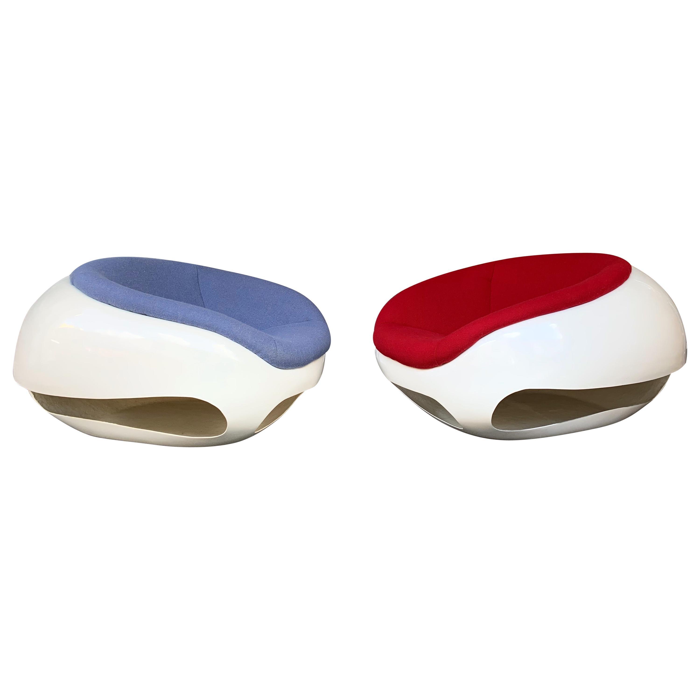 Pair of Fiberglass POD Armchairs by Mario Sabot, Italy, 1970s