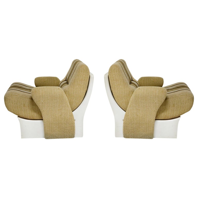 Pair of Fiberglass Scoop Lounge Chairs by Ernst Moeckl, Germany, 1960s