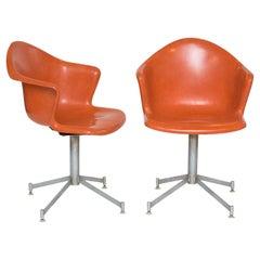Pair of Fiberglass Shell Swivel Chairs
