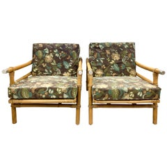 Pair of Rattan Bamboo Ficks Reed John Wisner Campaign Loungers Armchairs, 1954