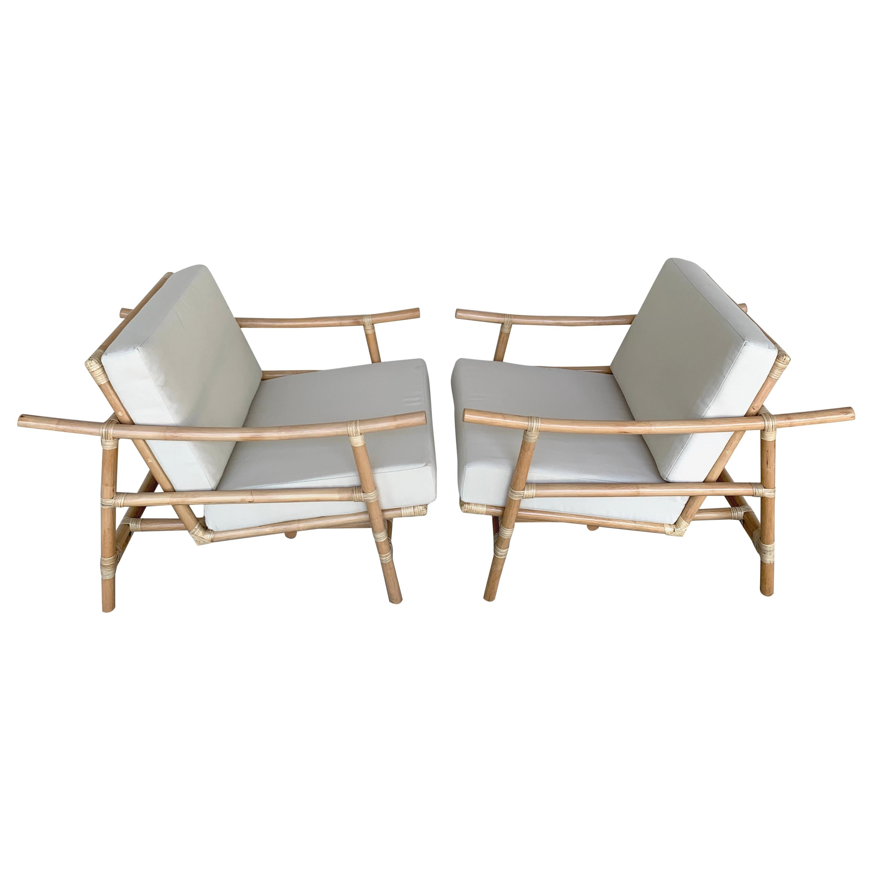 Pair of Ficks Reed Natural Rattan Lounge Club Chairs by John Wisner, Restored