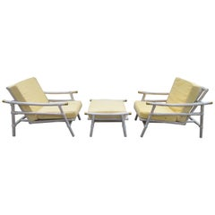 Pair of Ficks Reed Rattan Lounge Club Chair Ottoman, John Wisner Campaign Style