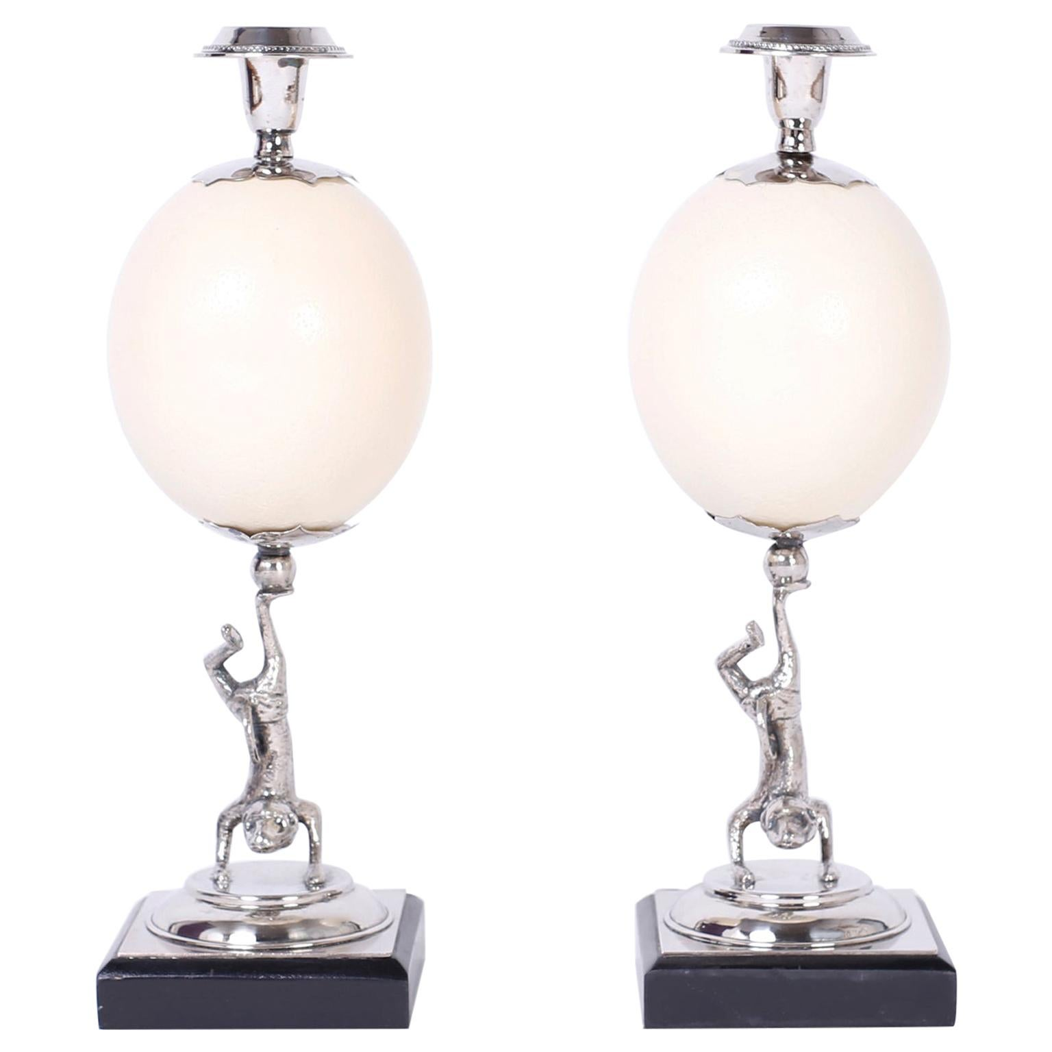 Pair of Figura Lizardl Ostrich Egg Candlesticks by Redmile