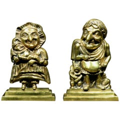 Pair of Figural Brass Andirons in the Form of Punch & Judy, England Circa 1880