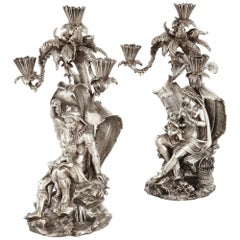 Pair of Figural Candelabra by Elkington, Mason & Co