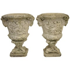 Pair of Figural Concrete Urn Garden Planters Cement Relief Greek Classical Scene