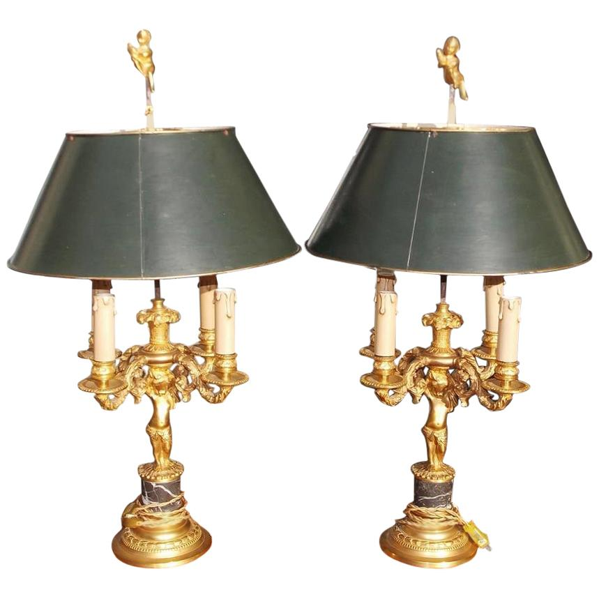 Pair of French Figural Gilt Bronze & Marble Four-Light Bouillotte Lamps, C. 1840