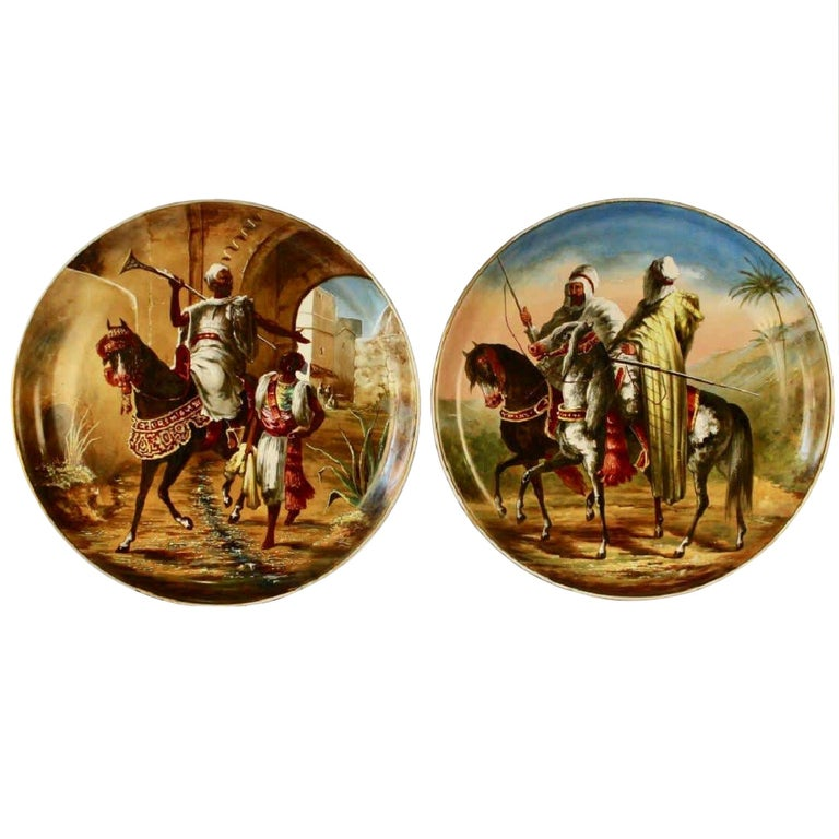 Pair of Figural Orientalist Chargers from Limoges For Sale