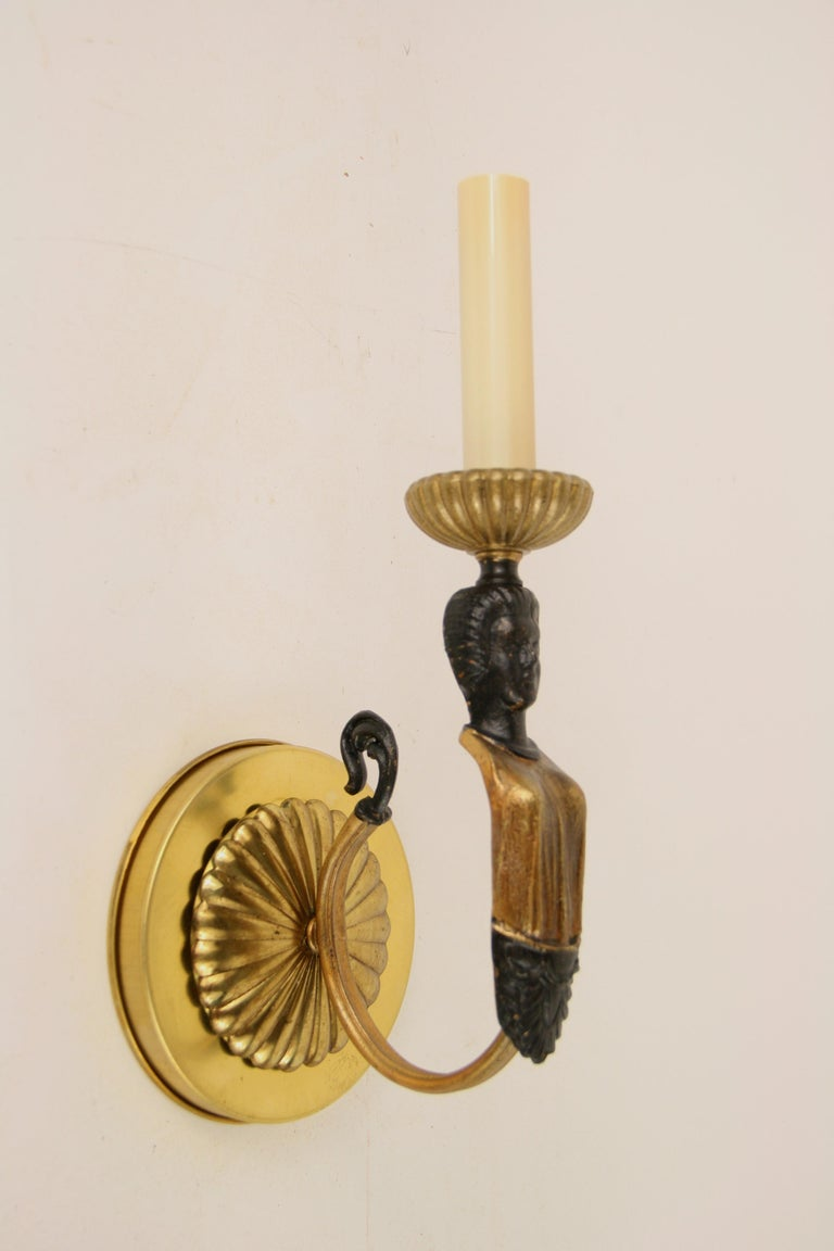Pair of Figural Single Arm Sconce For Sale 1