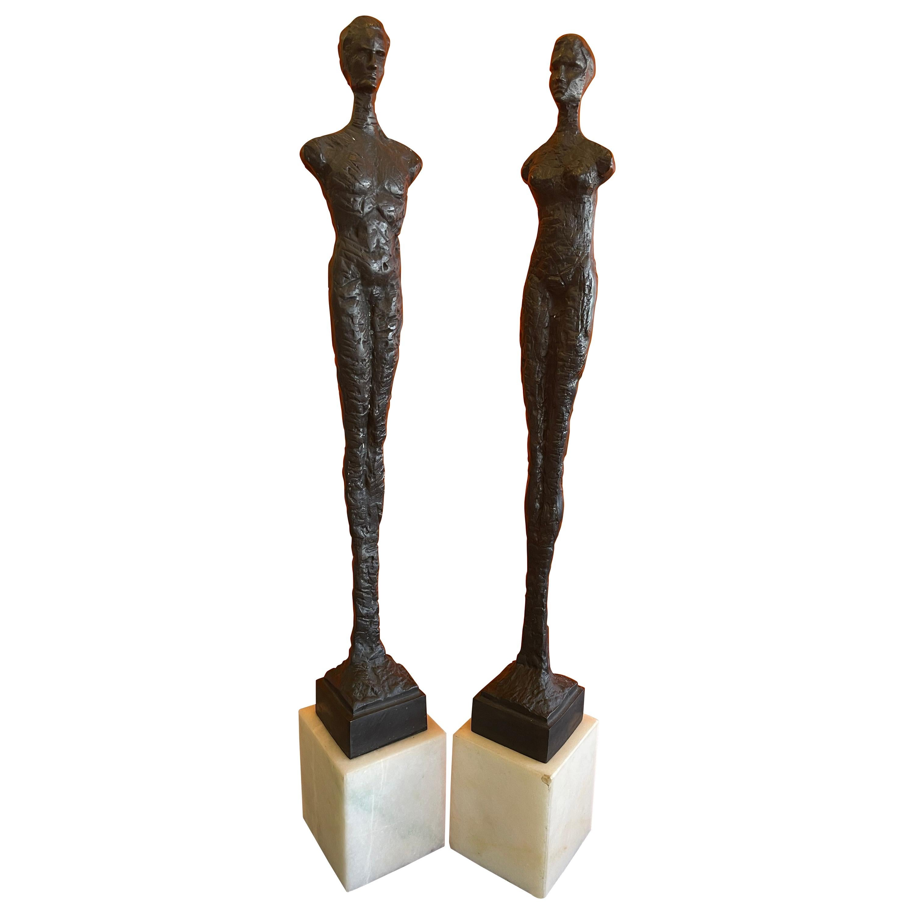 Pair of Figurative Bronze Man & Woman Sculptures in the Style of Giacometti