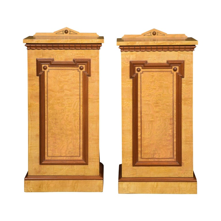 Pair of Figured Ash Bedside Cabinets For Sale