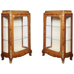 Pair of Figured Walnut Inlaid Pier Cabinets