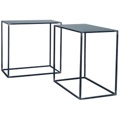 Pair of 'Filiforme' Patinated Steel Minimalist Side Tables by Design Frères