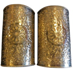 Pair of Filigree Handmade Moorish White Brass Wall Lanterns / Sconces
