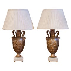 Pair of Fine 19th Century French Patinated Bronze Urns by Barbedienne, Lamps