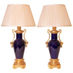 Pair of Fine 19th Century French Sevres Porcelain and Gilt Bronze Urn Lamps