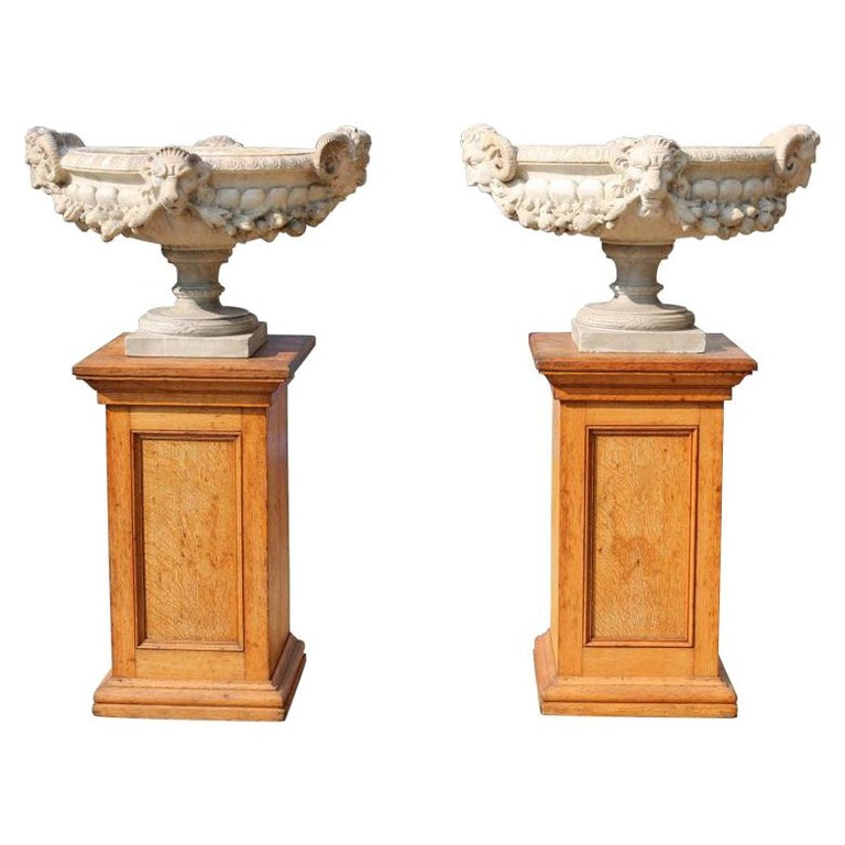 Pair of Fine 19th Century Italian Marble Tazza Urns For Sale