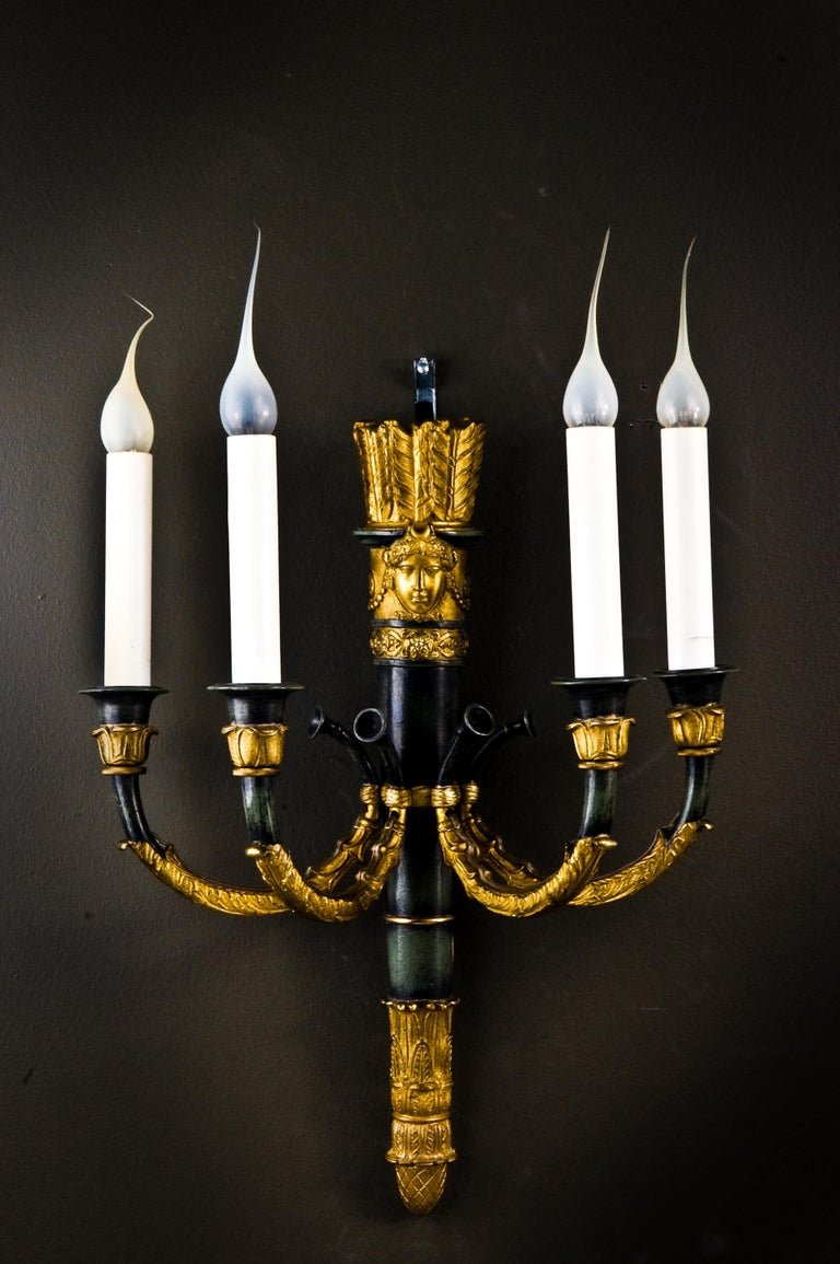 Pair of Fine Antique French Empire Gilt and Patinated Bronze Four-Light Sconces In Good Condition For Sale In New York, NY