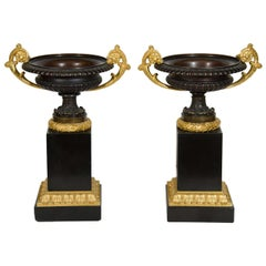 Pair of Fine Antique French Empire Gilt Bronze and Patina Bronze Urns