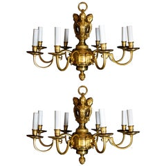 Pair of Fine Antique French Louis XVI Style Gilt Bronze Figural Chandeliers