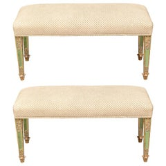 Pair of Fine Antique Paint Decorated and Gilt Benches