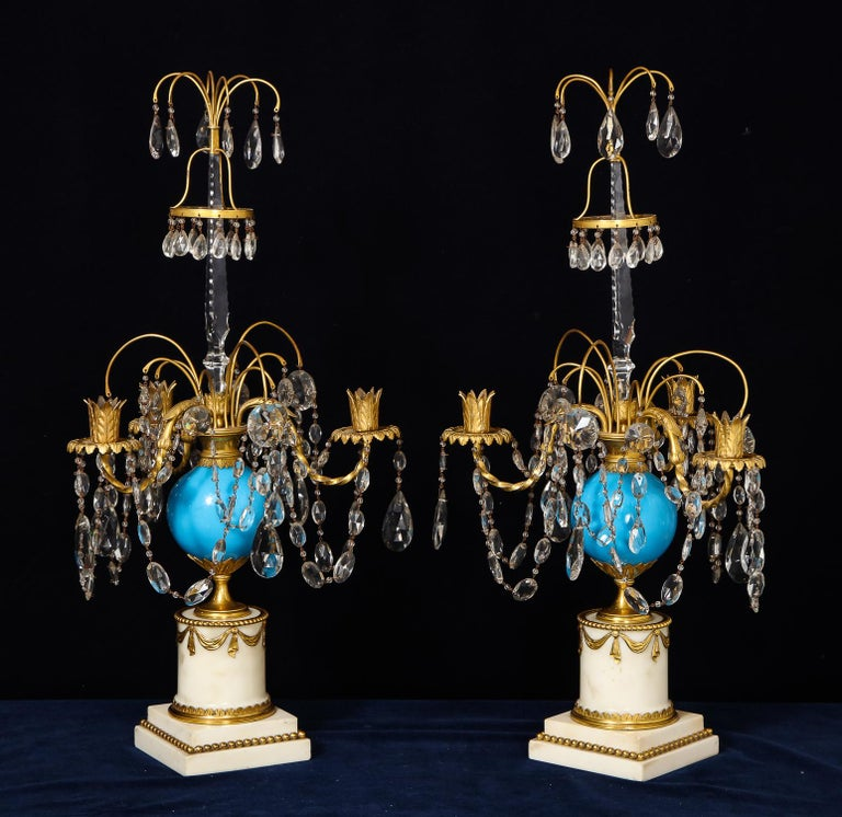Ukrainian Pair of Fine Antique Russian Neoclassical Bronze, Opaline and Crystal Candelabra For Sale
