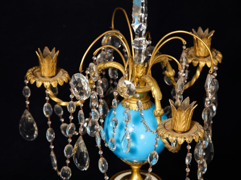 19th Century Pair of Fine Antique Russian Neoclassical Bronze, Opaline and Crystal Candelabra For Sale